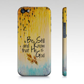 BE STILL & Know GOD Christian Jesus Scripture Art iPhone 4 5s 5c 6 Case Samsung Galaxy Case Garden Floral Psalm Faith Belief Religious Bible