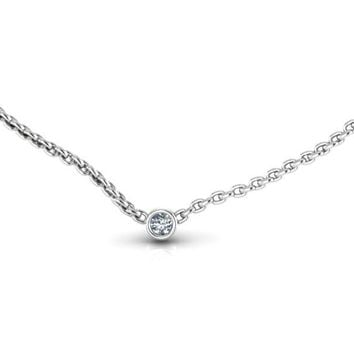 Dainty 14K White Gold Diamond Solitaire Diamond Pendant DBY Diamond by the Yard, Wedding Necklace, Bridal Necklace,Diamond Bezel Necklace