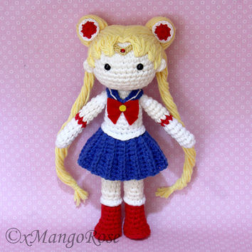 Sailor Moon Plush Amigurumi Doll (Crochet Pattern Only, Instant Digital Download)