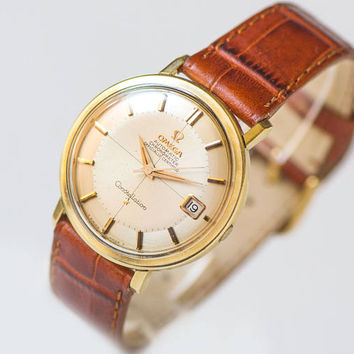 Luxury men wristwatch Omega CONSTELLATION, automatic chronometer watch cal 561, gold plated Swiss watch gift, handmade leather strap new