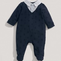 Boys Welcome To The World Mock Tie One-Piece