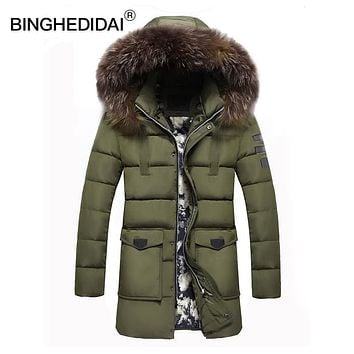 Winter long jacket thermal jacket mens fur hooded jacket long winter jacket men cotton padded parka long mens parka