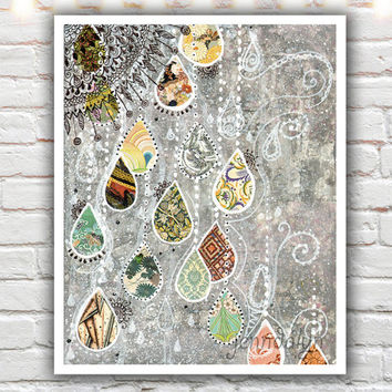 raindance - mixed media painting print, fine art print, 40 works in 40 days, bohemian art, boho decor, giclee print, silver gray wall art