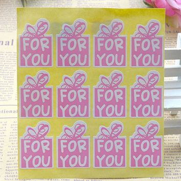 120pcs/lot 25*35mm Pink Color For You Stickers DIY Hand Made For Gift Cake Baking Sealing Sticker