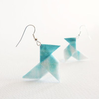Teal ombre Origami earrings made of silk