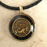Capricorn Necklace: Black - Mens Necklace - Mens Jewelry - Astrology - Boyfriend Gift - Zodiac - Birthday Gift - Leather Cord - Fathers Day