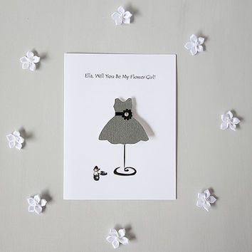 Customized FLOWER GIRL wedding party card, handmade paper goods Will You Be My Flower Girl, classic wedding invite charcoal grey bridal