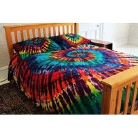 Brightside Tie-Dye 100% Cotton Duvet Cover Set - Extreme Rainbow - Twin Extra Long XL