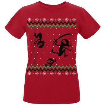 PEAPGQ9 Ninja Ninjas Attack Ugly Christmas Sweater Womens Organic T Shirt