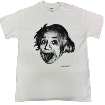 Albert Einstein T-Shirt Sticking Tongue Out White Tee