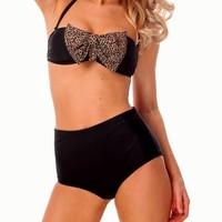 Black with Animal Print Bandeau High Waist Bikini
