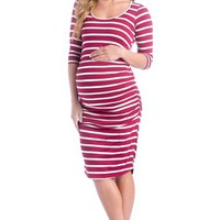 Women's Lilac Clothing Body-Con Midi Maternity Dress,