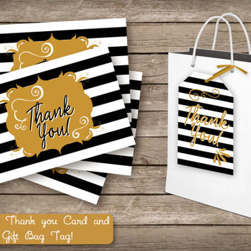 Classy Thank You Card and Gift Tags // Black & Gold // Sophisticated Party Favors // Royal themed Gift Bag Tags // Elegant Chic Modern