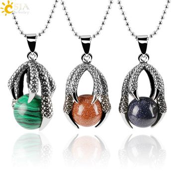 CSJA Tribal Dragon Claw Necklaces & Pendants Tiger Eye Round Gem Stone Beads Crystal Ball Men Biker Gothic Handmade Jewelry E454