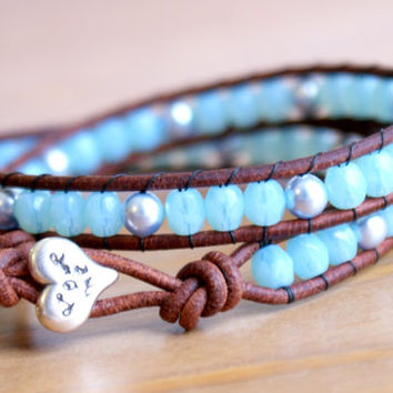 Baby Blue Swarovski Pearl Beaded leather wrap bracelet, Bohemian wedding, boho chic, gift idea, silver heart, trendy jewelry, hipster