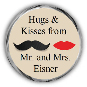 Mustache Lips Personalized Wedding Hershey Kisses Stickers • Wedding Sticker