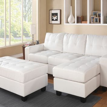 2 pc Lyssa collection white bonded leather match upholstered sectional sofa with reversible chaise with squared arms and free ottoman
