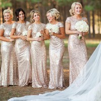 Sequin Bridesmaid Wedding Party Dress