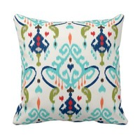Chic modern teal navy blue ikat tribal pattern