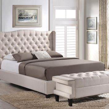 Baxton Studio Norwich Light Beige Linen Modern Platform Bed – Queen Size With Bench  Set of 1