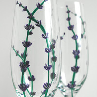 Lavender Toasting Flutes - Set of 2 Personalized Champagne Wedding Flutes - Purple, Green and Silver