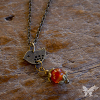 Little Brass Bird w/Carnelian Necklace from A Single Dream