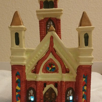 Christmas Village Church Red Ceramic