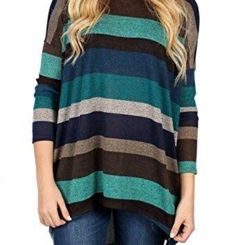 Yidarton Womens Striped Shirts Long Sleeve Blouse Loose T-Shirt Tunic Tops