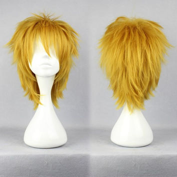 35cm Short DuRaRaRa!-Heiwajima shizuo yellow Cosplay Wig,Colorful Candy Colored synthetic Hair Extension Hair piece 1pcs WIG-281A