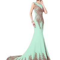 Favebridal Women's Long Formal Mermaid Gold Lace Evening Prom Dresses XU028DG-8