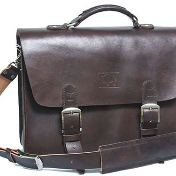 "Rustic Distressed Leather Messenger Bag  Briefcase Laptop Satchel fits Macbook Pro 15"" 019"