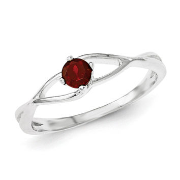 Sterling Silver Red CZ Sol Ring
