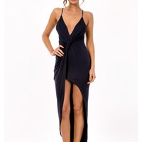 Deep Fried Banana Maxi Dress- Navy Blue