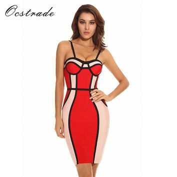 *online exclusive* colorblock strappy bodycon bandage dress
