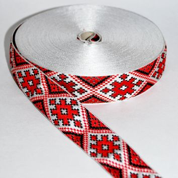 "Decorative ribbon ""Tesma"" by yard. Red ornament"