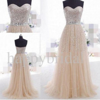 Long Champagne Prom Dresses Shinning Sequined Party Dresses Evening Dresses Formal Wedding Dresses