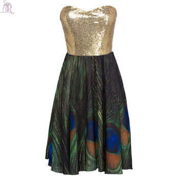 Golden Green Contrast Color Patching Sequined Midi Skater Dress Sleeveless Strapless Peacock Feather Prints Party 2016 Women
