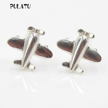 925 sterling silver earrings small airplane stud earrings for women gift Sterling-silver-jewelry PULATU ED0035
