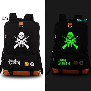 Iron Maiden school bag Rock Band noctilucous backpack student school bag Notebook backpack Daily backpack