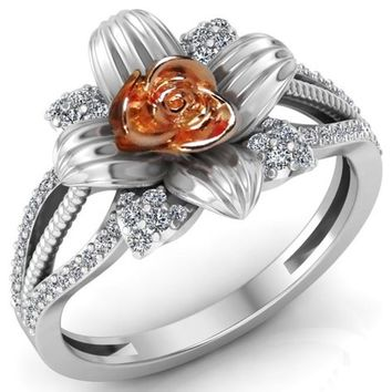 Rose Rose Engagement Ring Flower 2 Tone Rose & White Flower Ring Promise Ring with Side Diamonds Floral ring For Her Lover Gift