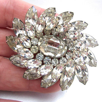 Clear Rhinestone KRAMER of NY Brooch, Oval Swirls, Signed Vintage
