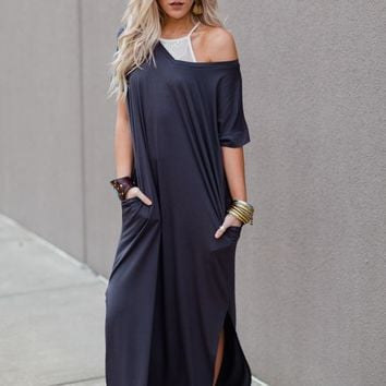 Eternal Sunshine Tee Maxi Dress - Ash Gray