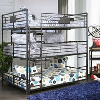 Olga I collection triple full bed full over full over full antique black metal frame industrial bunk bed