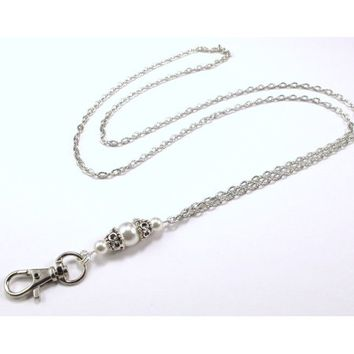 Women's Fashion Lanyard for ID Badge or Keys- Functional Necklace features White Swarovski Pearls separated by Silver filigree bead caps and a Silver Textured Chain - Walmart.com