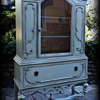 Antique hutch, duck egg blue hutch, shabby chic hutch, distressed hutch, rustic hutch, painted hutch, chippy hutch, vintage china cabinet