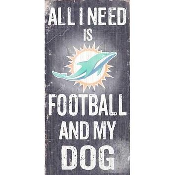 Miami Dolphins Football and Dog 6x12 Wood Sign