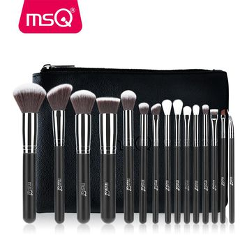 . Eyeshadow Make Up Brushes Cosmetics Soft Synthetic Hair With PU Leather Case.
