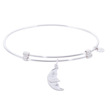 Sterling Silver Alluring Bangle Bracelet With Halfmoon Charm