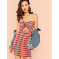 Stripe Ribbed Knit Ruched Tube Dress