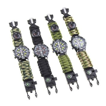 Tactical Multi Outdoor EDC Survival Watch adjustable bracelet compass Rescue Rope paracord Camping equipment Tools